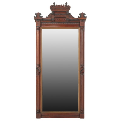 Eastlake Mahogany Rectangular Wall Mirror, Late 19th Century