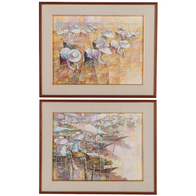 Oil Paintings of Farmers and Merchants, Circa 2000