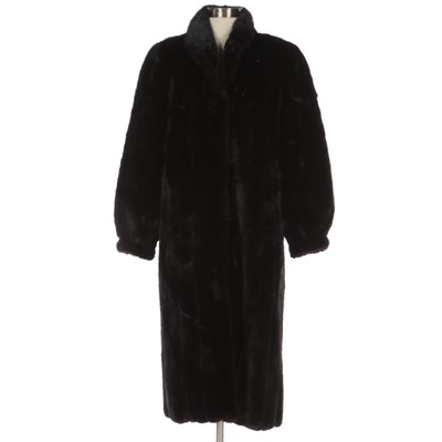 Dark Ranch Mink Fur Coat with Banded Cuffs and Standing Collar