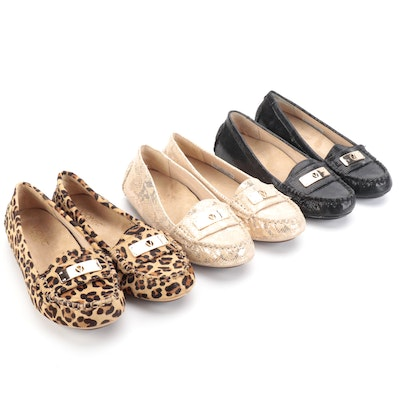 Vionic Sydney Slip-On Loafers in Leopard Print Calf Hair and Embellished Leather