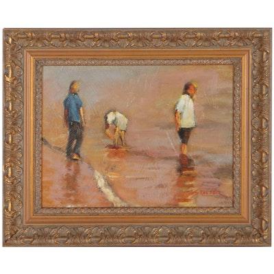 Richard Stalter Oil Painting of Beach Scene