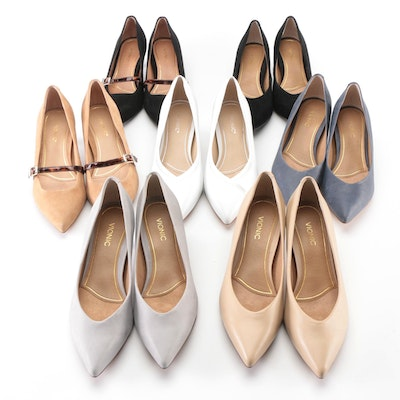 Vionic Leather and Suede Josie and Minnie Kitten Heel Pumps