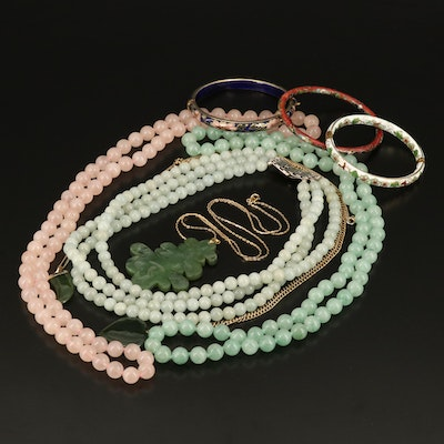 Asian Carved Nephrite Pendant and Beaded Necklaces and Cloisonné Bangles