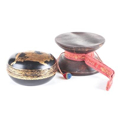 Thai Hand-Painted Lacquerware Box with Damaru Wooden Drum