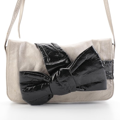 See by Chloé Shoulder Flap Bag in Metallic Leather with Black Patent Bow
