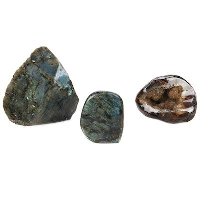 Polished Feldspar Labradorite and Banded Agate Druzy Specimens