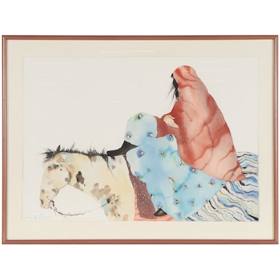 """Carol Grigg Watercolor Painting """"Gathering Power From The East,"""" 1987"""