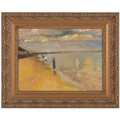 Richard Stalter Seascape Oil Painting of Beach