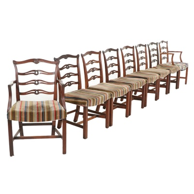 Eight Chippendale Style Walnut Ribbon Back Dining Chairs, Mid 20th Century