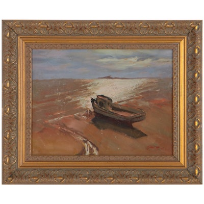 Richard Stalter Seascape Oil Painting of Boat