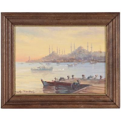 Oil Painting of Istanbul Across the Bosphorus