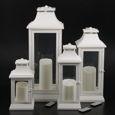 Luminara Metal and Glass Lanterns with Remote Control Candles