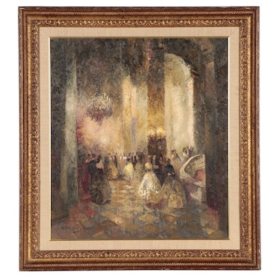 """Ludwig Gschossmann Oil Painting """"A Grand Ball,"""" Mid-20th Century"""