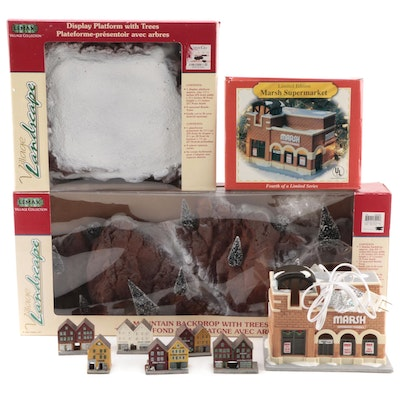 Lemax and Other Christmas Village Décor with Norwegian Composite Mini Buildings