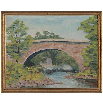 "Landscape Oil Painting Attributed to John Scott ""Bridge Below Bonser's Store"""