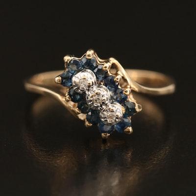10K Sapphire and Diamond Bypass Ring