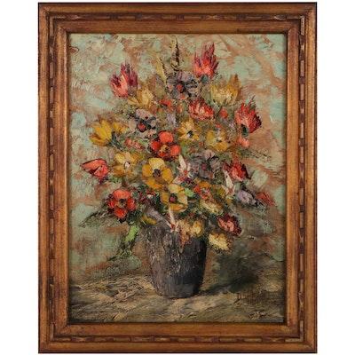 Jules Duffart Floral Still Life Oil Painting
