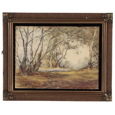 Angel De Service Espoy Landscape Watercolor Painting of Woods