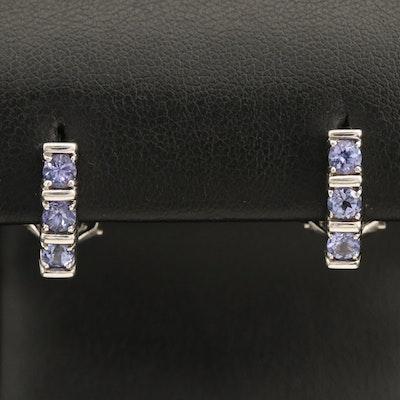 14K Tanzanite J Hoop Earrings