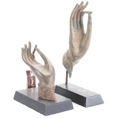 Metal Mudra Hands on Wooden Bases