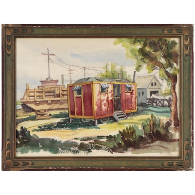 Standish Backus, Jr. Watercolor Painting of Boxcar Home, 1948