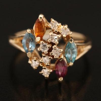 14K Ruby, Topaz, Citrine and Diamond Cluster Ring