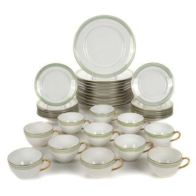 L. Bernardaud & Co. Limoges Green Greek Key Porcelain Dinnerware