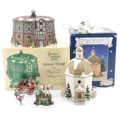 """Department 56 """"The Old Globe Theatre"""" with Other Porcelain Buildings"""