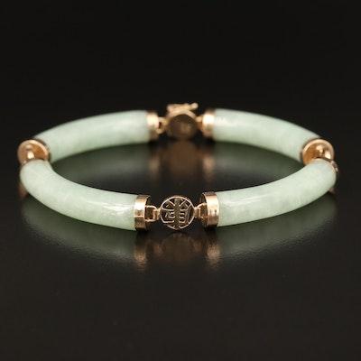 Asian 14K Curved Jadeite Bar Bracelet