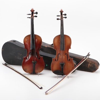 Klotz and Unbranded 4/4 Violins with Cases, Bows