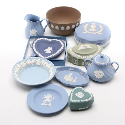 Wedgwood Jasperware Trinket Boxes and Dishes with Table Accessories, 20th C.