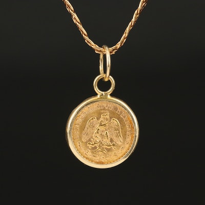 21K Mexican 1945 Two Peso Restrike on 14K Italian Gold Pendant Necklace