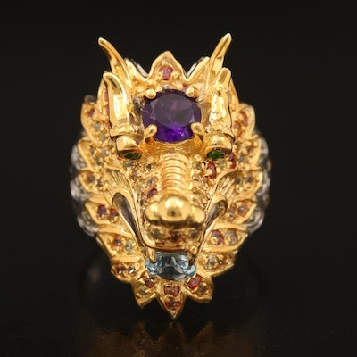 Sterling Dragon Ring Including Amethyst, Aquamarine and Sapphire