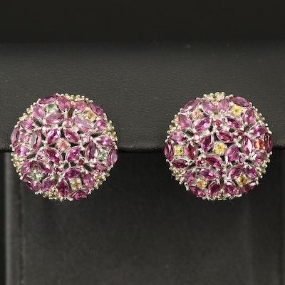 900 Silver Rhodolite Garnet and Sapphire Button Earrings