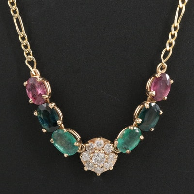 14K Diamond, Ruby, Emerald and Sapphire Stationary Pendant Necklace