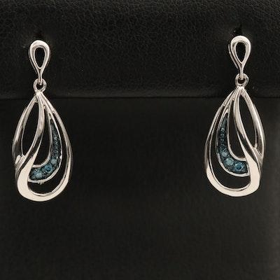 10K 0.05 CTW Fancy Blue Diamond Drop Earrings