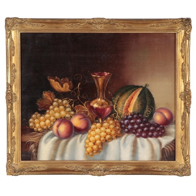 A.M. Csek Still Life Oil Painting, Late 20th Century