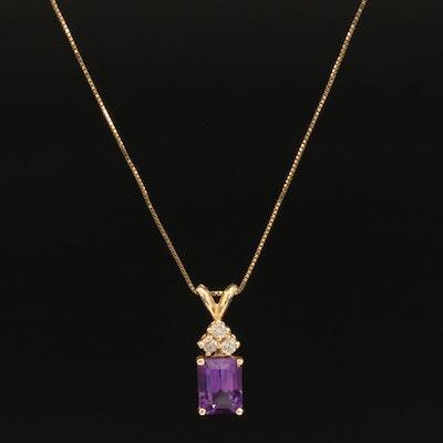 14K Amethyst and Diamond Pendant Necklace
