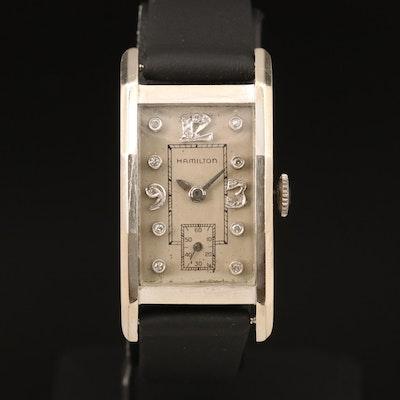 14K Hamilton Diamond Dial Wristwatch