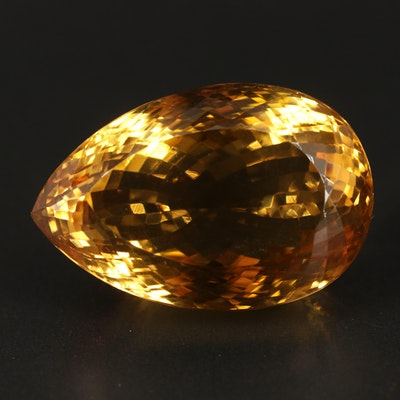 Loose 123.86 CT Pear Faceted Citrine