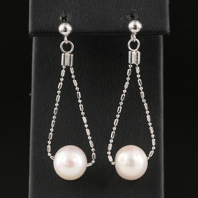 Sterling Chain and Pearl Drop Earring