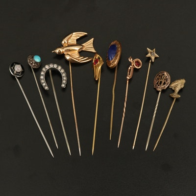 Vintage and Antique Stick Pins Including Diamonds and Sterling
