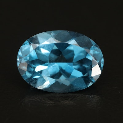 Loose 6.78 CT Oval Faceted London Blue Topaz