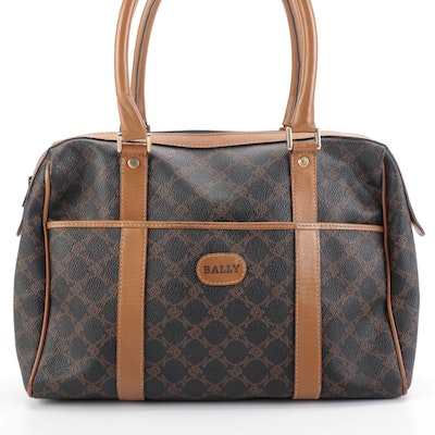 Bally Boston Bag in Coated Vintage ''B'' Monogram Canvas and Dark Tan Leather