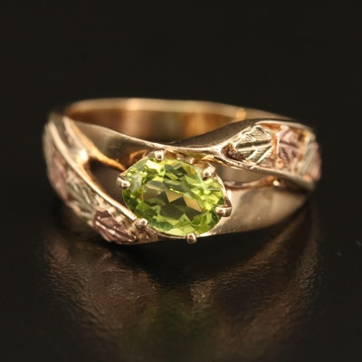 10K Gold Peridot Ring with Tri-Color Leaves