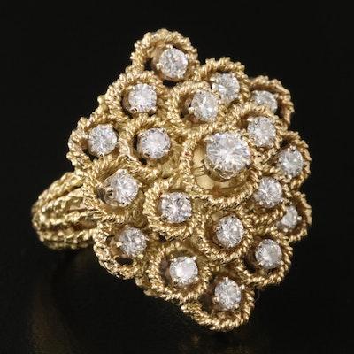 18K 1.48 CTW Diamond Braided Cluster Ring