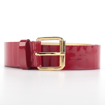 D&G Belt in Red Patent Leather with Gold-Tone Buckle