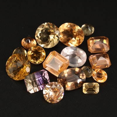 Loose Mixed Gemstones with Ametrine, Citrine and Cubic Zirconia
