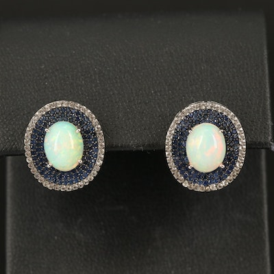 Sterling Silver Opal Button Earrings with Sapphire and Topaz Halos