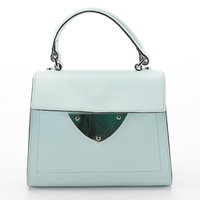 Coccinelle Small Two-Way Bag in Light Blue Leather